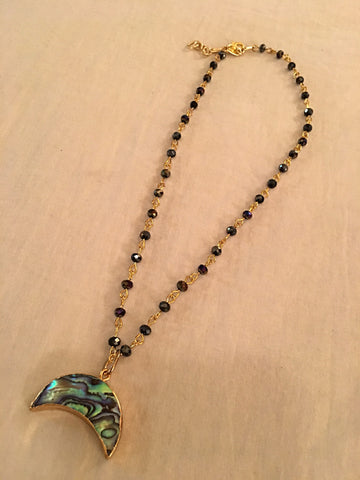 Mother of Pearl Crescent Crystal Choker