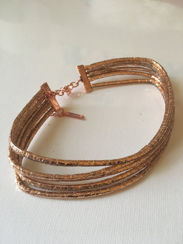 Multi-Stranded Metallic Rose Gold Choker