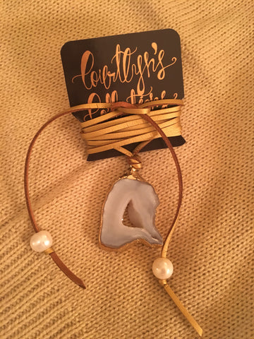 Gold Suede Lariat-White Agate & Pearls