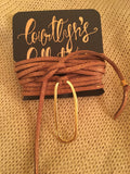 Gold Flaked Brown Suede Lariat Wrap- Gold Oval