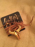 Gold Flaked Brown Suede Lariat Wrap- Mini Cattle Skull