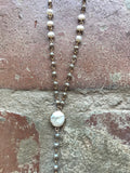 Taupe Crystal & Freshwater Pearl Y Necklace