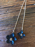Long Gold & Black Flower Necklace