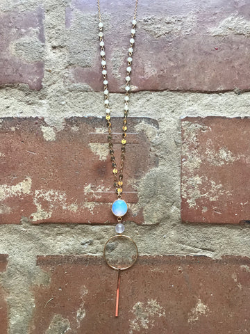 Long Gold & Opal Pendant Necklace