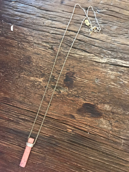 Pink Vertical Bar Pendant Necklace