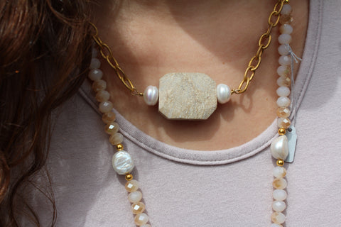 Beige Stone Necklace Framed by Pearls on Matte Chain