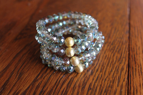 Simple Crystal Bracelet- Gray/Green
