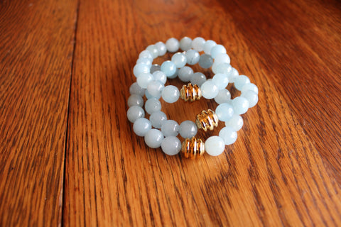Simple Faceted Agate Bracelet- Sky Blue
