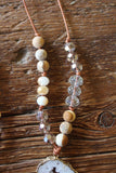 Jasper & Crystal Beads on Leather & Druzy Necklace