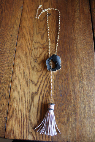 Black Druzy & Tan Bejeweled Tassel Intertwined Necklace
