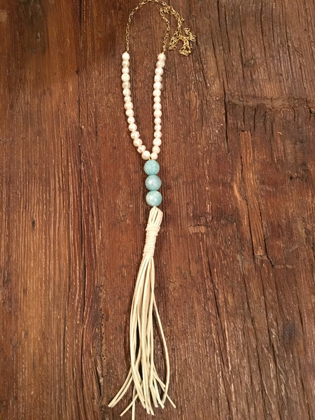 Stacked Blue Agate & Pearl Tassel Necklace
