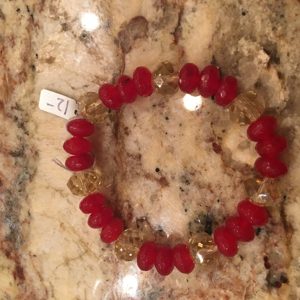 Faceted Red Agate & Crystal Bracelet
