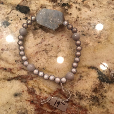 Grey Pendant & Magic Bead Bracelet