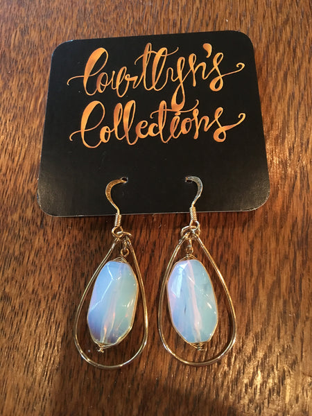 Opal & Gold Dangle Earrings