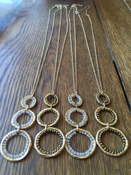 Triple Beaded Ring Necklace
