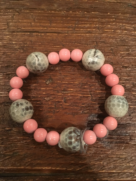 Grey Agate & Light Pink Bracelet