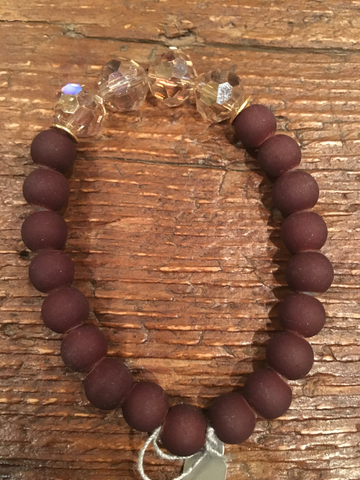Round Crystal & Brown Bracelet