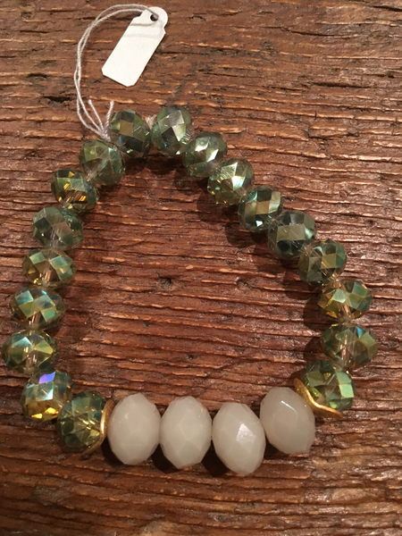 Grey Framed in Green Crystal Bracelet