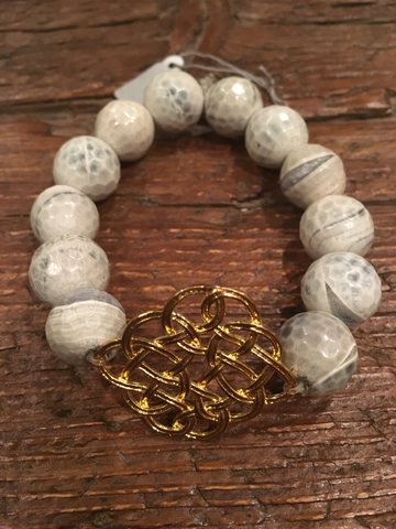 Large White/Grey Agate & Filagree Bracelet