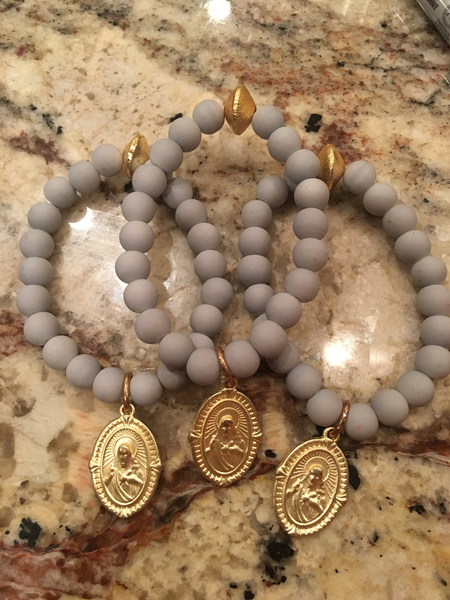 Rubberized Grey Bracelet + Gold Saint Charm