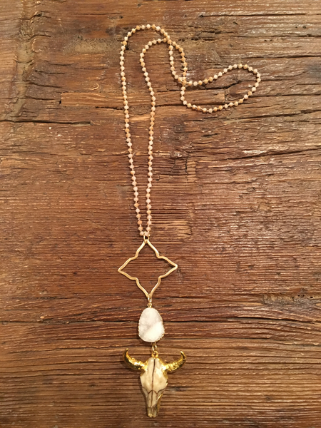 Starburst + Druzy + Cattlehead Skull on Knotted Crystal Necklace