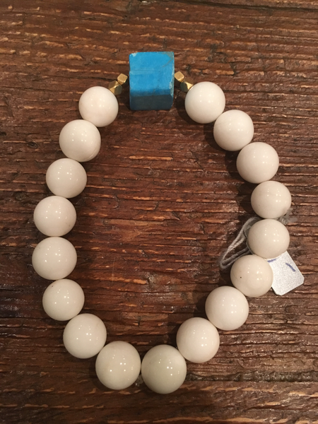White & Blue Square Bracelet