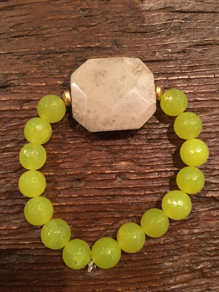Neon Lime Agate Bracelet with Beige Stone