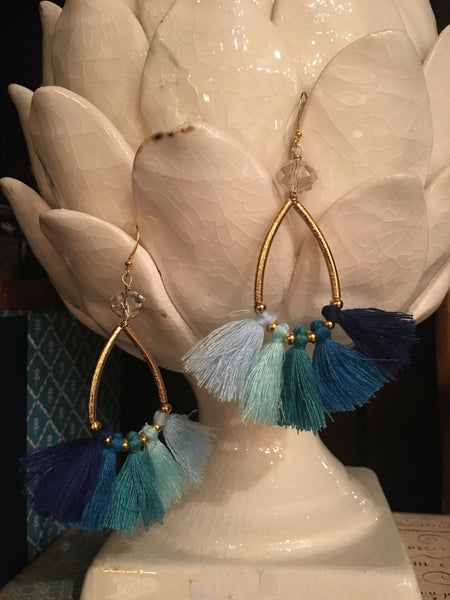 Crystal & Blue Ombré Tassel Earrings