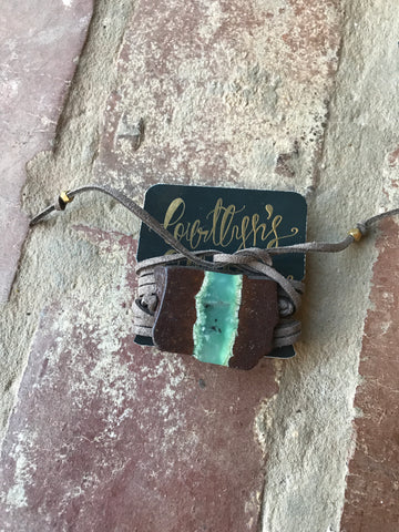 Brown and Green Slab & Brown Suede Lariat Wrap