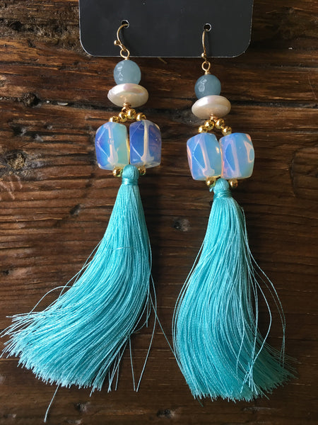 Robin's Egg Blue Tassel Earrings
