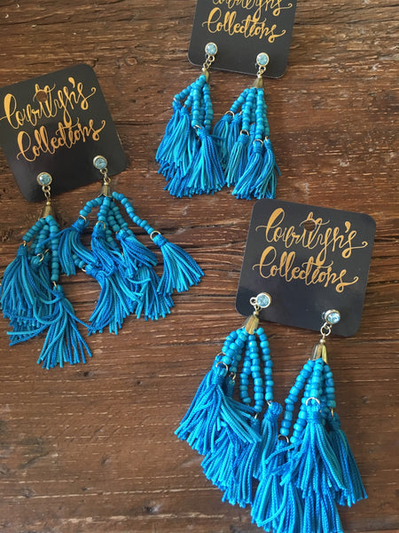 All Blue Tassel Earrings