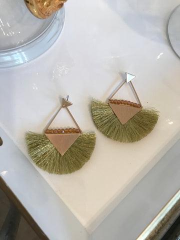 Triangle Fanned Tassel Earrings