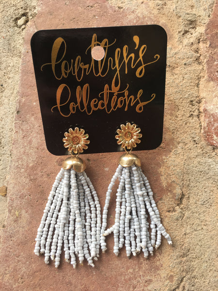 Flower Beaded Tassel Earrings