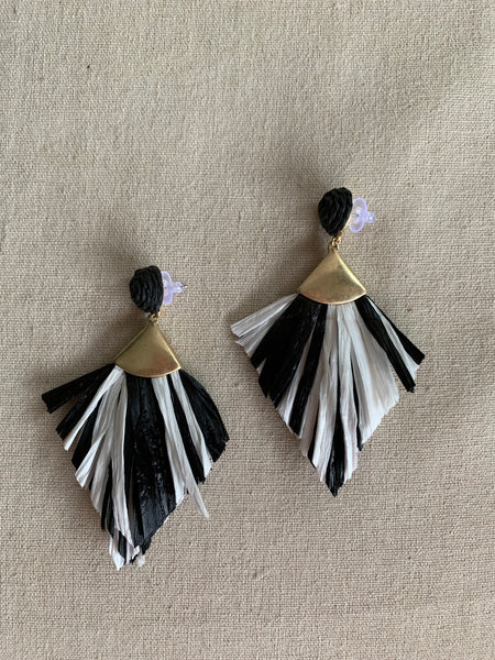 Seeing Stripes Raffia Earrings