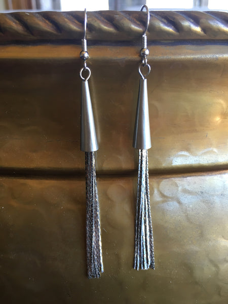Liquid Silver Tassel Earrings