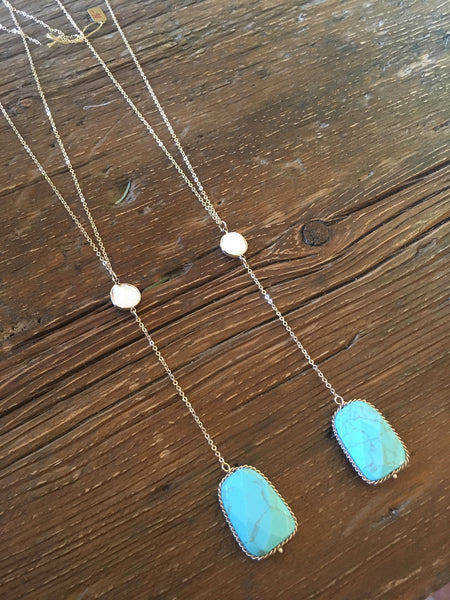 Freshwater Coin Pearl & Turquoise Y Necklace