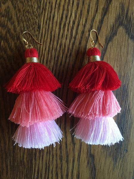 Stacked Tassel Statement Earrings- Red & Pink