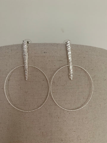 Textured Matte Silver Drop Hoops