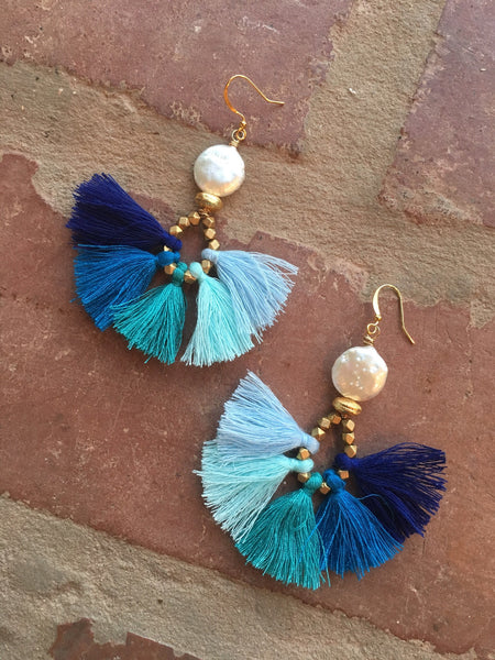 Coin Pearl & Blue Ombré Tassel Earrings