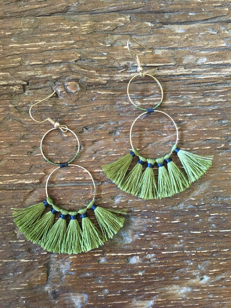 Olive Mini Tassel Earrings