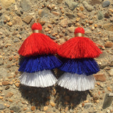 Stacked Tassel Earrings- Red, White, & Blue