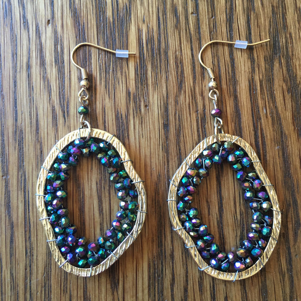 Irregular Multi-Colored Beaded Dangle Earrings