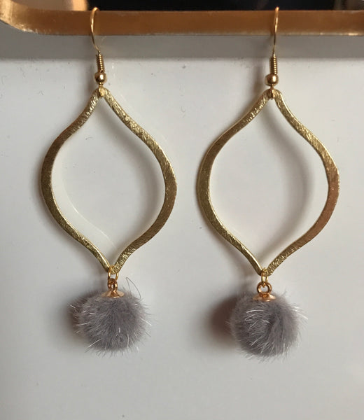 The Gray Fur Dangle Earrings