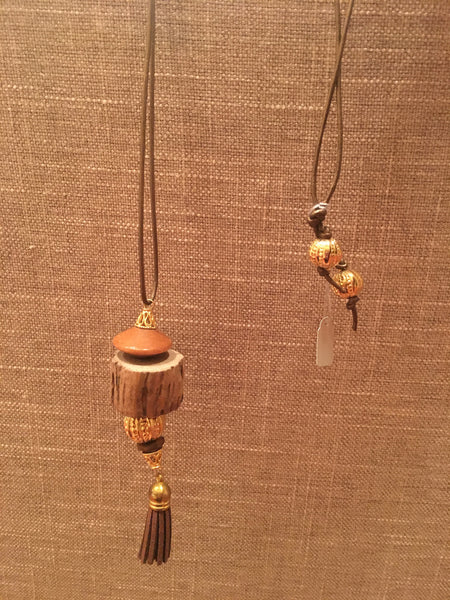 Driftwood Leather Tassel Necklace