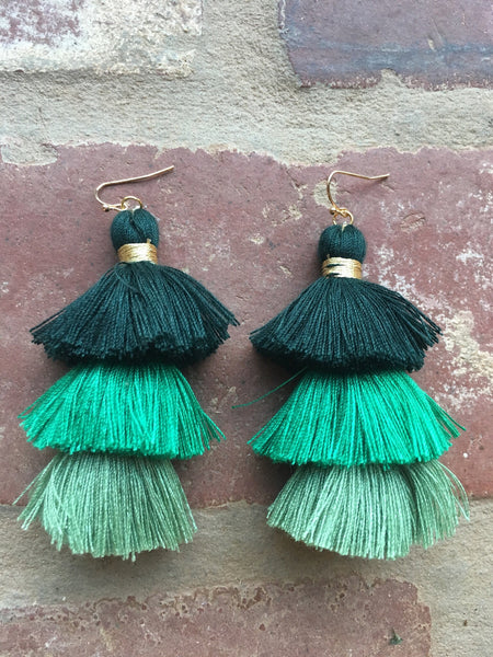 Stacked Tassel Statement Earrings- Green