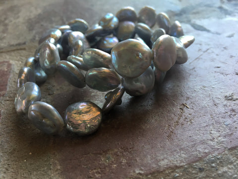 Light Gray Freshwater Coin Pearl Bracelet