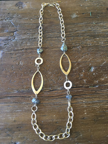 Silver Quartz & Gold Link Necklace
