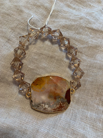 Rusty Red Agate and Neutral Crystal Bracelet