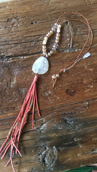 Neutral Agate & Salmon Tassel Necklace