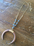 Wooden Crescent & Gray Beaded Necklace